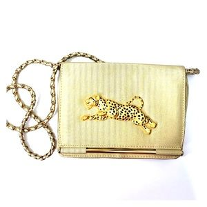 Vintage Gold Cheetah leopard purse
